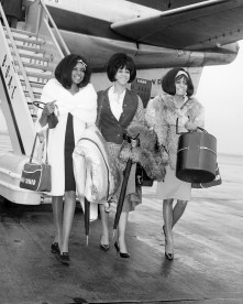 The Supremes at Heathrow Airport, London. The group arrives for the Tamla-Motown concert tour of the UK.