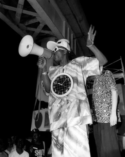 Rapper Flavor Flav of Public Enemy on the set