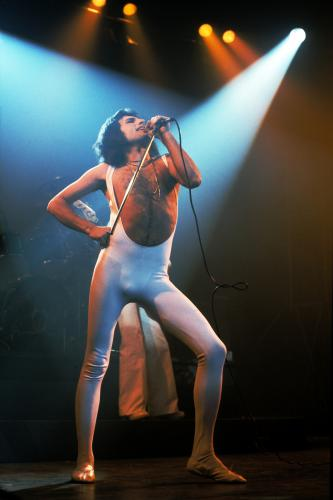 Freddie Mercury of Queen performs in London in 1976.