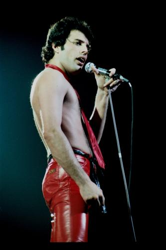 Freddie Mercury on stage at the Liverpool Empire. 1979.