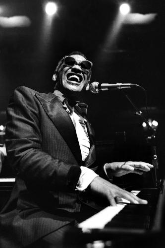 Ray Charles photographed on stage in San Francisco