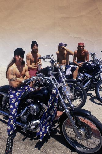 Red Hot Chili Peppers on motorbikes, West Hollywood, Los Angeles, USA, 1994.