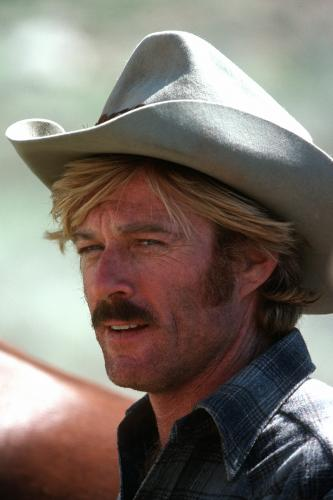 Robert Redford in Utah filming the western romance 'The Electric Horseman'