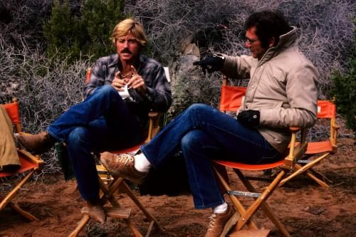 Robert Redford and director Sydney Pollack during the shooting of the film  'Electric Horseman' in March