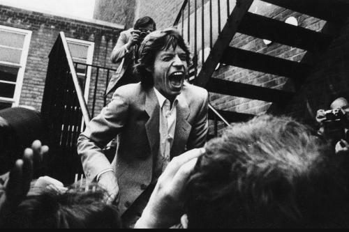 Mick Jagger leaving La Beat Route