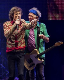 Mick Jagger and Keith Richards of the Rolling Stones headline the Pyramid Stage at the Glastonbury Festival of Contemporary Performing Arts at Worthy Farm