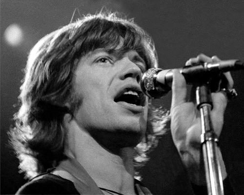 Mick Jagger of The Rolling Stones photographed on stage in Detroit