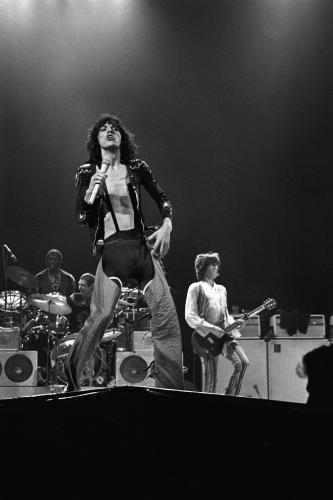 The Rolling Stones photographed on stage at Earl's Court