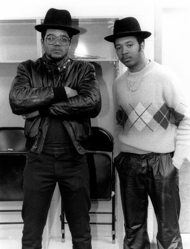 Run DMC photographed backstage in 1990.