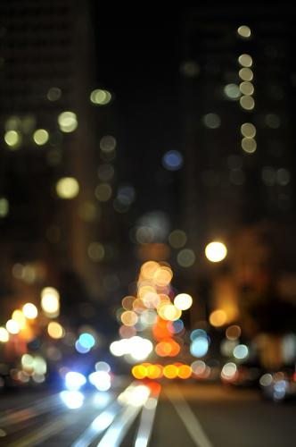 Lights on the streets of San Francisco photographed by Stephen Albanese.