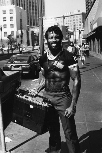 A man holds his ghetto blaster on the street in Downtown San Francisco