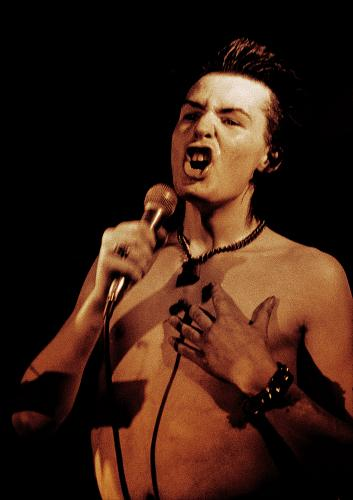 Sid Vicious on stage at a solo gig at the Electric Ballroom in Camden
