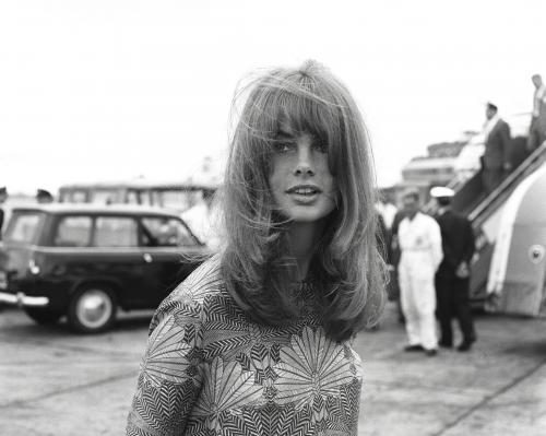 Jean Shrimpton photographed arriving back at London Airport after her holiday in Sicily.
