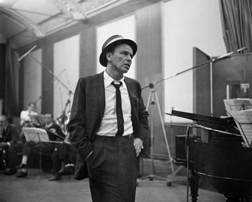 Frank Sinatra photographed during a recoding session in 1964.