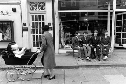 A candid shot of The Small Faces taking a short break while on a photo shoot in London during the mid 60s.