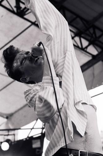 "Morrissey singing on stage with The Smiths at the GLC ""Jobs For A Change"" Festival"