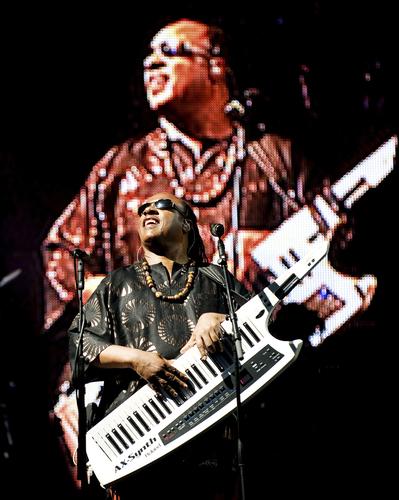 Stevie Wonder headlines the Pyramid Stage at the Glastonbury Festival in Glastonbury
