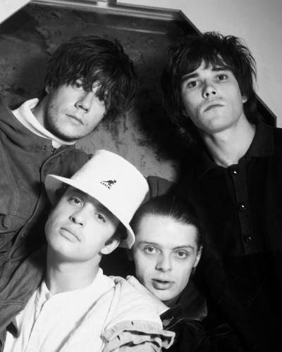 The Stone Roses photographed in Nomad Studios in Manchester 1989. L-R John Squire