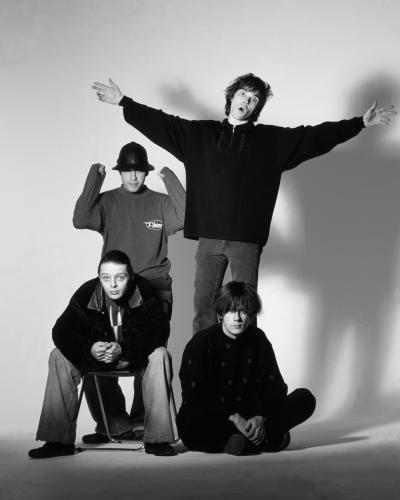 The Stone Roses photographed in Nomad Studios in Manchester 1989. L-R Standing - Reni