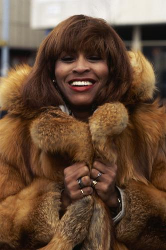 American soul singer Tina Turner in a fur coat