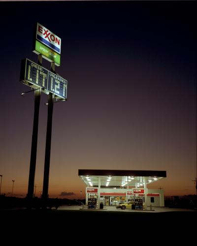 An Exxon garage photographed at dusk during a roadtrip.