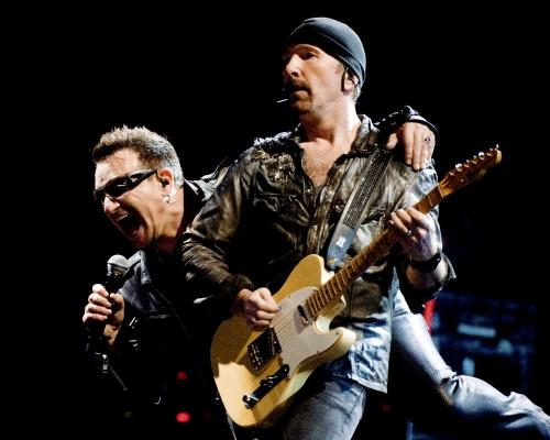 Bono and The Edge of U2 headline the Pyramid Stage at the Glastonbury Festival at Worthy Farm