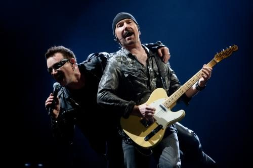 Bono and The Edge of U2 at Glastonbury 2011.