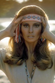 Raquel Welch poses on the film set of '100 Rifles'.