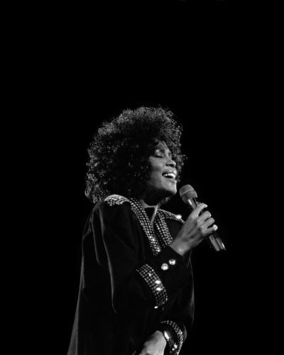 Singer Whitney Houston performs at the Assembly Hall at the University Of Illinois at Urbana-Champaign in Champaign