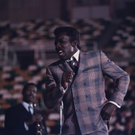 Wilson Pickett photographed on stage during a performance in Minneapolis, 1970.